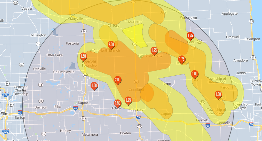 Imlay City Michigan Storm Wind Damage Map