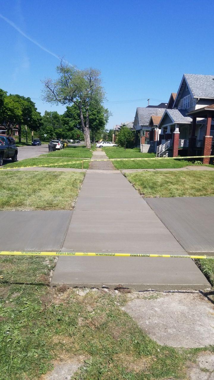 Detroit Michigan Concrete Sidewalk After